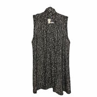 Chicos Black White Marled Knit Sweater Open Cardigan Vest Size 2 Hip Length