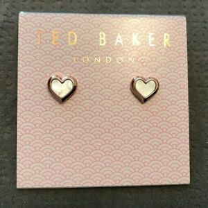 Ted Baker Mother Of Pearl Heart Earrings  Rose Gold Tone
