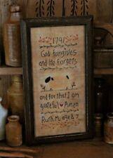 "PATTERN Primitive Sheep & Willow Tree ""God Forgives"" Stitchery Sampler FREE SHIP"