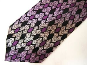 Vtg Stacy Adams Mens Necktie Tie Purple Black Geometric Thick Silk 60""