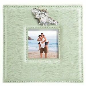 Faux Sea Green Leather Photo Frame With Sculpted Metal Conch Shell 3 x 3 Photo