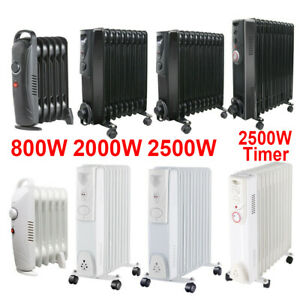 Oil Filled Radiator Portable Electric Heater Thermostat 6 9 11 Fin White Black