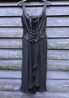 KAREN MILLEN Black Silk Satin/Voile Gothic Laced Boned Bodice Dress UK10 EU38