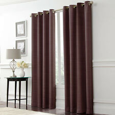 """NEW LUNOIR BROWN BLACKOUT ENERGY SAVING RING TOP EYELET CURTAINS W 52"""" x L 90"""""""
