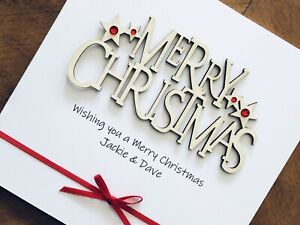 """Personalised Handmade Christmas Cards - Wooden Merry Christmas 6"""" X 6"""""""