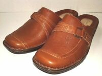 New Clarks Womens Size 5.5 M  Artisan Collection Mule Brown Leather Wedge Clog