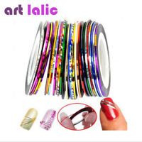 30Pcs Mixed Colors Rolls Striping Tape Line Nail Art Tips Decoration Sticker BF