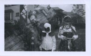 Vintage photo. DOUBLE EXPOSURE W/ KIDS IN HALLOWEEN COSTUMES. CLOWN, CHICKEN.