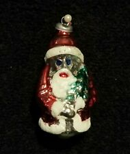 Vintage Mercury Glass Santa Claus With Tree Christmas Ornament