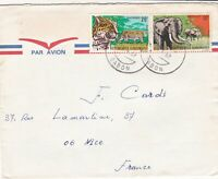 French Colonies Air Mail 1969 Panthers & Elephants Stamps Cover to France  44715