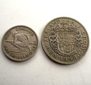 NEW ZEALAND 1 SHILLING 1951 & 1/2 CROWN 1948 KM#17, 19 SS6.2