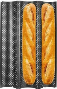 French Bread Baguette Baking Tray Perforated 3-slot Non Stick Metal Baking Tray