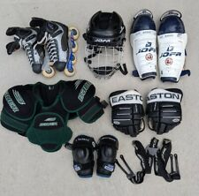 Roller Hockey Equipment Bundle - Skates, Helmet, Shin Guards, Bauer Bag, used