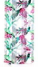 SCARF Long Pink Green Fuchsia Ivory Background Floral TROPICAL HIBISCUS FLOWERS