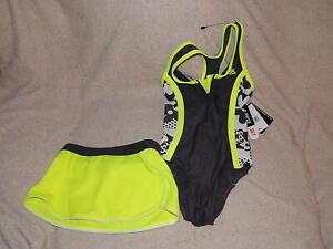 ZeroXposur Girls Acid Lime Green & Black One-Piece Swimsuit & Shorts Set NEW $50