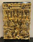 Chinese Carved Deep Relief Gilt Wood Warriors Religious Scenes Panel