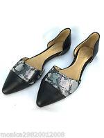 TopShop Cuir Noir Pointu Vampire Plat Chaussures Taille UK6/EUR39/US8.5