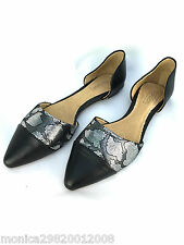 TOPSHOP BLACK LEATHER POINTED VAMP FLATS SHOES SIZE UK6/EUR39/US8