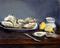 Manet Oysters and Lemon Dinner French Painting France Art Real Canvas Art Print