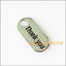 10 New Thank you Oval Tibetan Silver Tone Charms Pendants 9x18mm