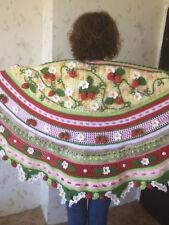 Huge ...XXXL...3D Irish Crochet Strawberry Shawl ...Freeform Shawl