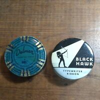 2 VINTAGE TYPEWRITER RIBBON TINS BLACK HAWK & DELMAR GOOD USED CONDITION NEAT