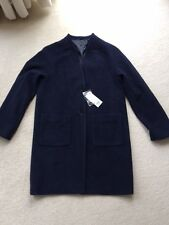 Womens Uniqlo Wool Blend Navy Collarless Coat. Size Medium. RRP £69.90