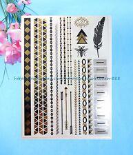 US SELLER - Aztec boho armband bracelet wristband metallic gold temporary tatoos