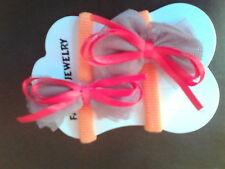 Pair Orange Mesh Ribbon Bow Hair Tie Ties Bulk ( 24 )