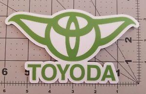 "3-pack TOYODA 6"" x 3.5"" GREEN Bumper Sticker - Toyota Yoda Prius Corolla RAV4"
