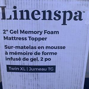 """LINENSPA 2"""" Gel Infused Memory Foam Mattress Topper Twin XL Blue"""