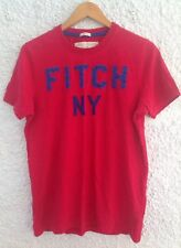 Abercrombie & Fitch Músculo' ' Grande Color Rojo Camiseta Top Rosa Azul Letras frontal