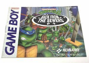 Teenage Mutant Ninja Turtles II Back From The Sewers - Authentic Game Boy Manual
