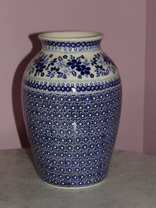 "Polish Pottery 10"" Folk Vase! UNIKAT Signature Rembrandt in Blue Pattern!"