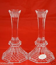 24% LEAD CRYSTAL CANDLESTICK/HOLDER PAIR AMERICAN MADE QUILTED PATTERN NEW