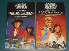 2 Doctor Who Paperbacks The Vortex Crystal and Rebel's Game + Key Ring and Pin