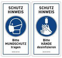 2x Hygiene Hinweis Schild Aufkleber | MUNDBINDE DESINFEKTION | Virus Schutz DIN