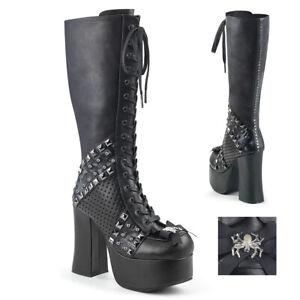 Black KISS Tribute Band Gene Simmons Monster Platform Knee High Boots Shoes Mens