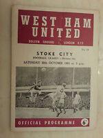 1965/66 Football League - WEST HAM v STOKE CITY - 30th October