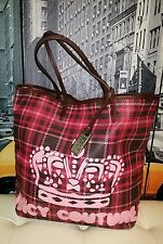 JUICY COUTURE  TOTE-LEATHER AND CANVAS-BROWN/PINK/FUCHSIA/PLAID-WAS $119