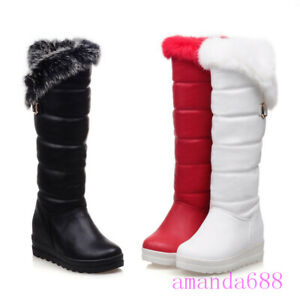 Winter Womens Mid Wedge Heels Platform Knee High Snow Boots Fur Trim Lined Shoes