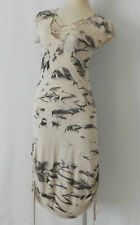Tie-Dye Body-Con dress Cap Sleeve Ruched/String Tie Sides Hand Made Size 1(XS)