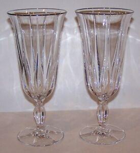 """STUNNING PAIR OF NORITAKE CRYSTAL VENDOME PLATINUM 8 1/8"""" ICED TEA GLASSES"""
