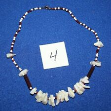 Beach Necklace shell beads 17 inch brown white pink (4)