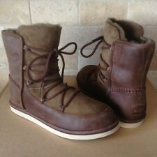 UGG LODGE CHOCOLATE WATER-RESISTANT SUEDE SHEEPSKIN LACE-UP BOOTS SIZE 7 WOMEN