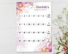 2/4 stone Personalised Floral Weight Loss Chart, Diet Chart, Whiteboard.