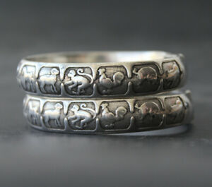 Vintage Miao Silver Bracelet Open Zodiac Bracelet 1 Pair