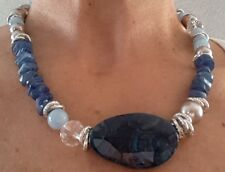 Collana donna pietre dure naturali, con kyanite, giada acquamarina, agata, perle