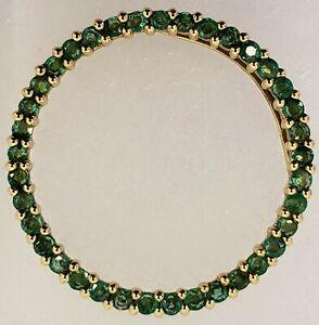 "10K YELLOW GOLD~1"" DIAMETER CREATED EMERALD CIRCLE PENDANT~2.9 GRAMS~MSRP $300"