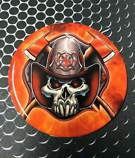 "Firefighter Sticker Proud Domed Decal car Emblem Flexible 3D 2.5"" Round Scull"